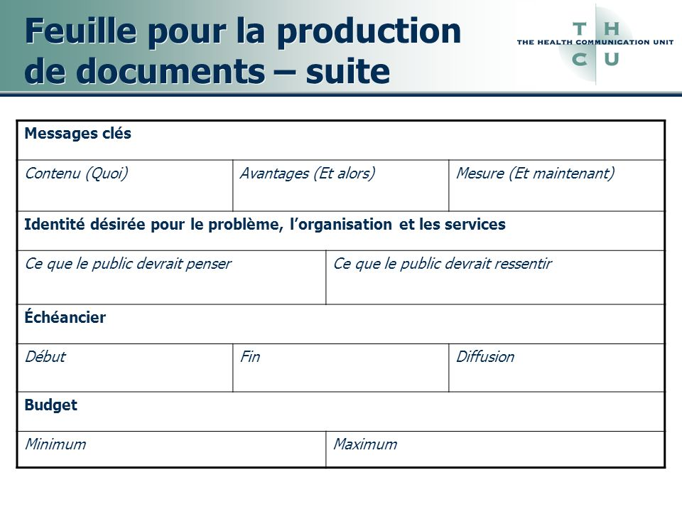 Feuille pour la production de documents – suite