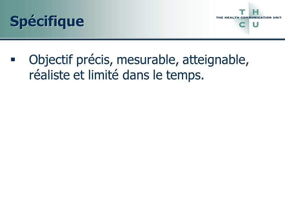 Spécifique Objectif précis, mesurable, atteignable, réaliste et limité dans le temps.