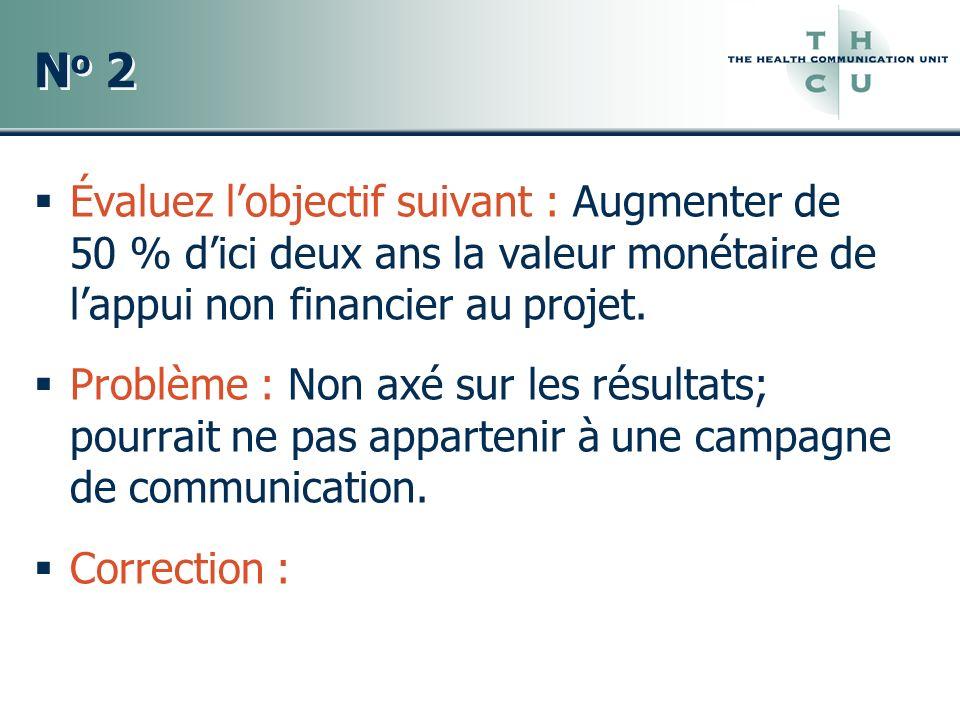 No 2 Évaluez l'objectif suivant : Augmenter de 50 % d'ici deux ans la valeur monétaire de l'appui non financier au projet.