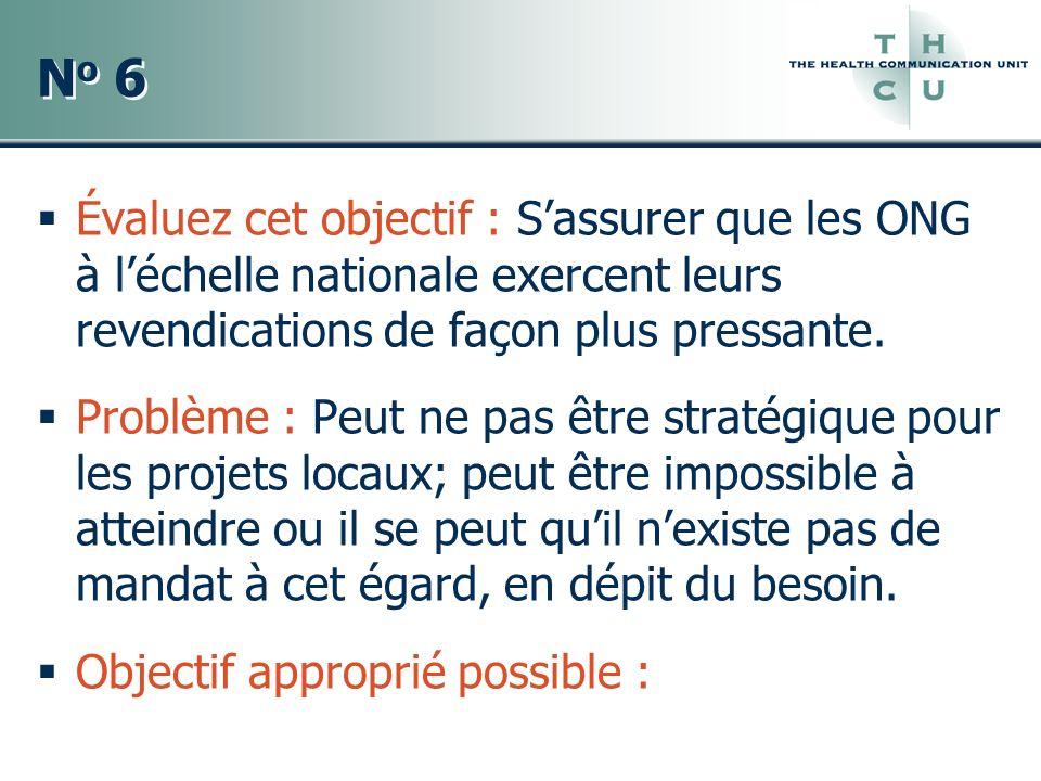 No 6 Évaluez cet objectif : S'assurer que les ONG à l'échelle nationale exercent leurs revendications de façon plus pressante.