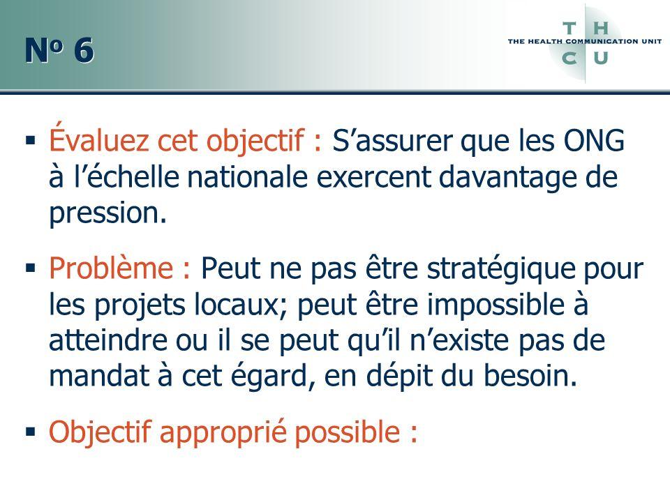 No 6 Évaluez cet objectif : S'assurer que les ONG à l'échelle nationale exercent davantage de pression.