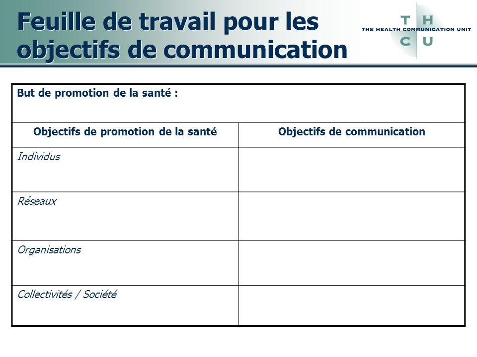 Feuille de travail pour les objectifs de communication
