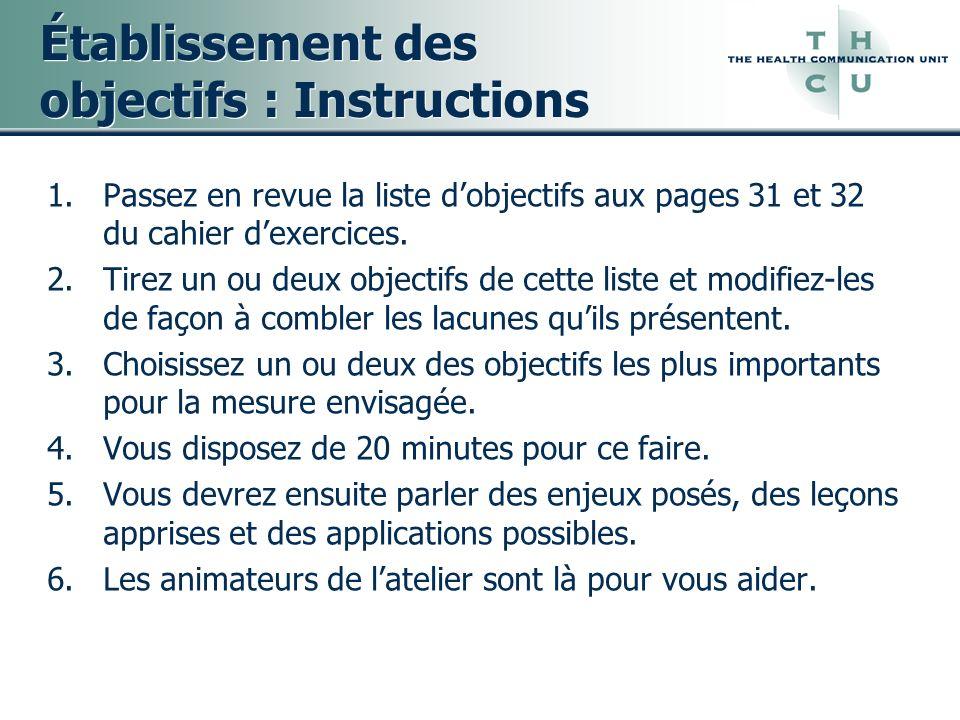 Établissement des objectifs : Instructions
