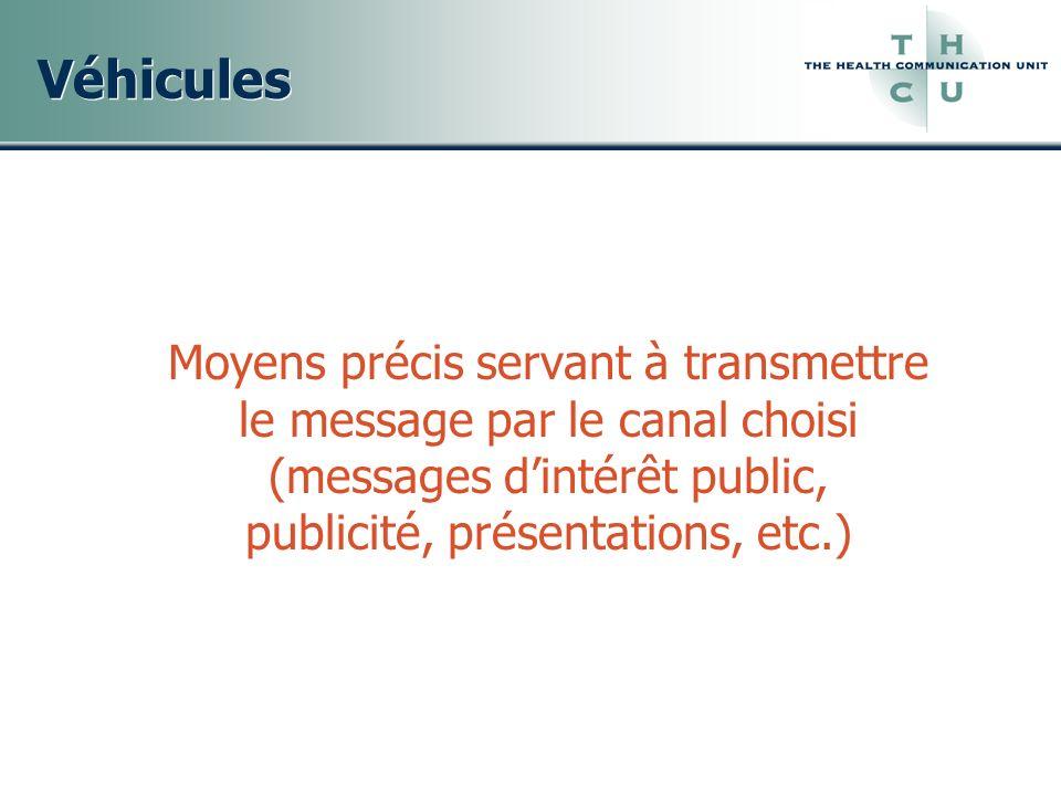 Véhicules Moyens précis servant à transmettre le message par le canal choisi (messages d'intérêt public, publicité, présentations, etc.)