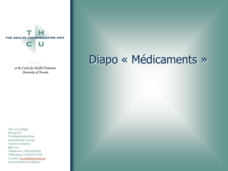 Diapo « Médicaments »