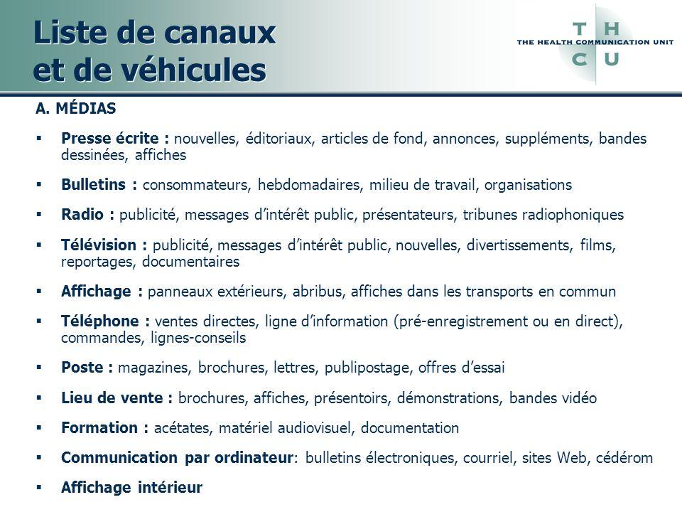 Liste de canaux et de véhicules