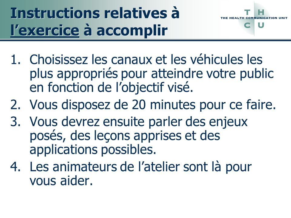 Instructions relatives à l'exercice à accomplir
