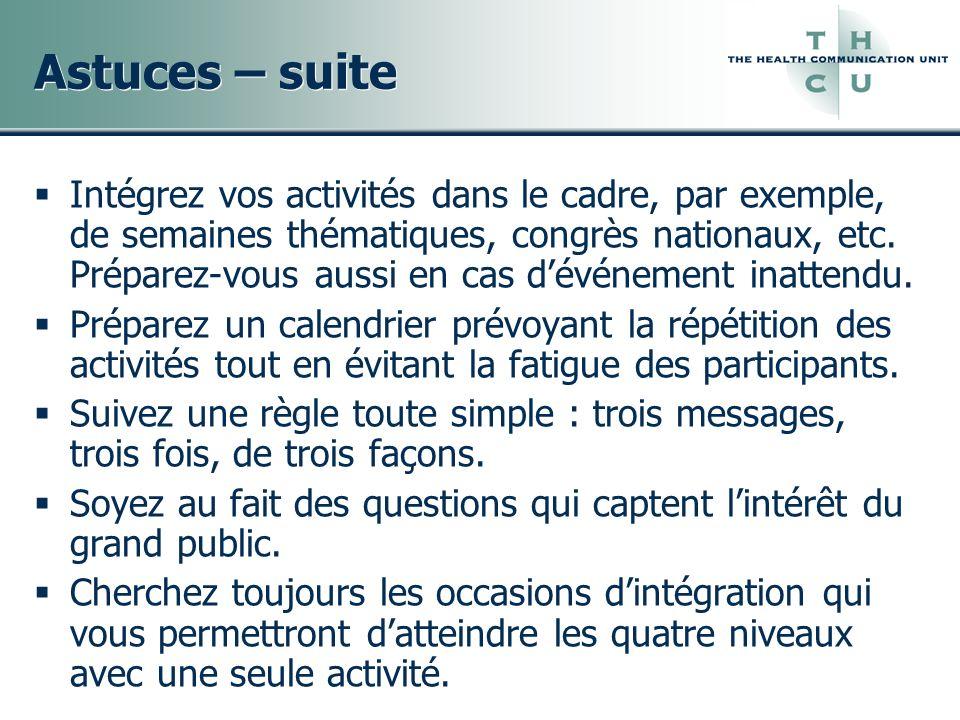 Astuces – suite
