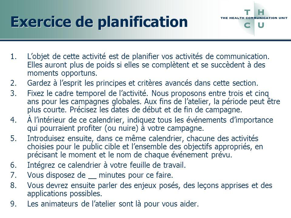 Exercice de planification