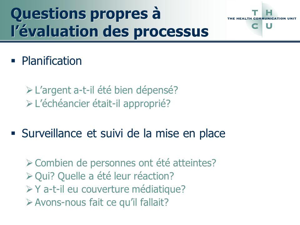 Questions propres à l'évaluation des processus