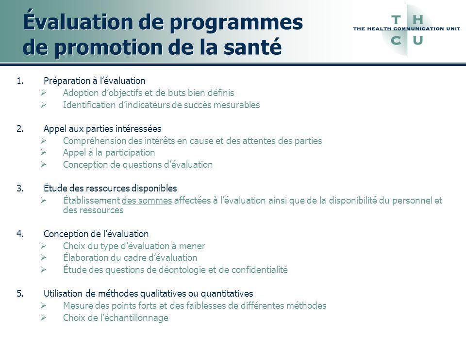 Évaluation de programmes de promotion de la santé