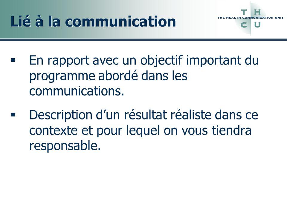 Lié à la communication En rapport avec un objectif important du programme abordé dans les communications.