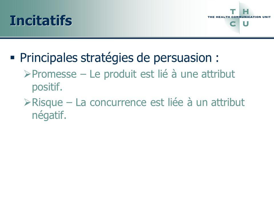 Incitatifs Principales stratégies de persuasion :