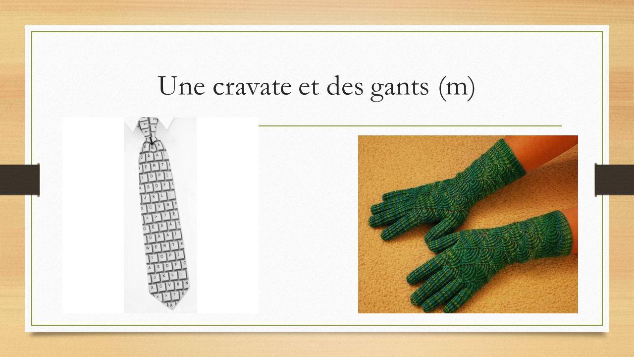 Une cravate et des gants (m)