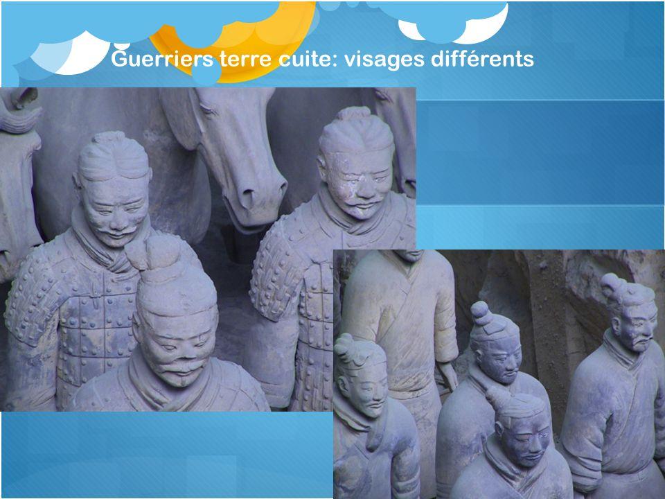 Guerriers terre cuite: visages différents