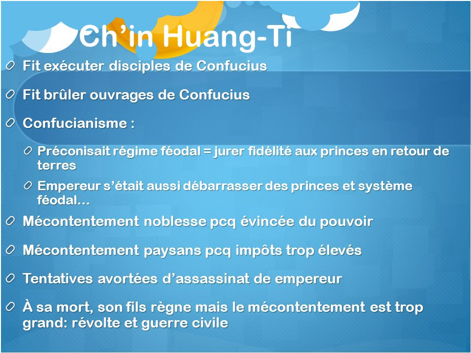 Ch'in Huang-Ti Fit exécuter disciples de Confucius