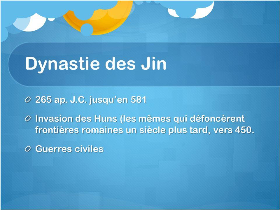 Dynastie des Jin 265 ap. J.C. jusqu'en 581
