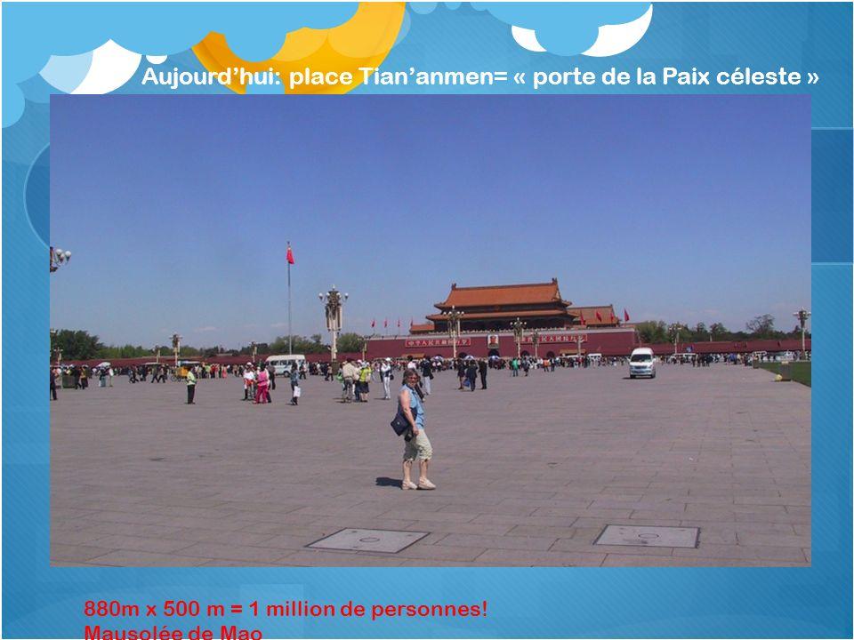 Aujourd'hui: place Tian'anmen= « porte de la Paix céleste »