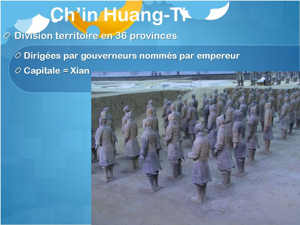 Ch'in Huang-Ti Division territoire en 36 provinces