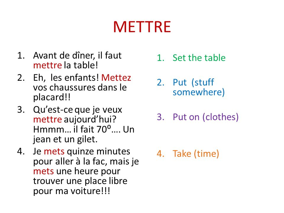 METTRE Avant de dîner, il faut mettre la table! Set the table