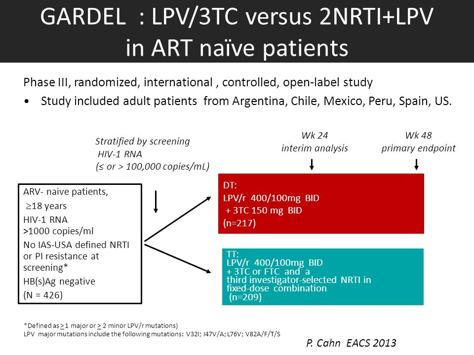 GARDEL : LPV/3TC versus 2NRTI+LPV in ART naïve patients