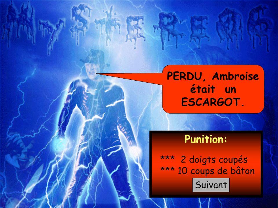 PERDU, Ambroise était un ESCARGOT. Punition:
