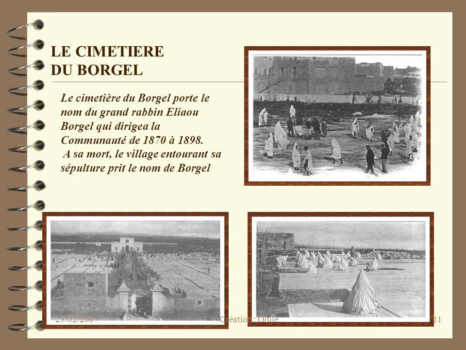 LE CIMETIERE DU BORGEL Le cimetière du Borgel porte le nom du grand rabbin Eliaou Borgel qui dirigea la Communauté de 1870 à 1898.