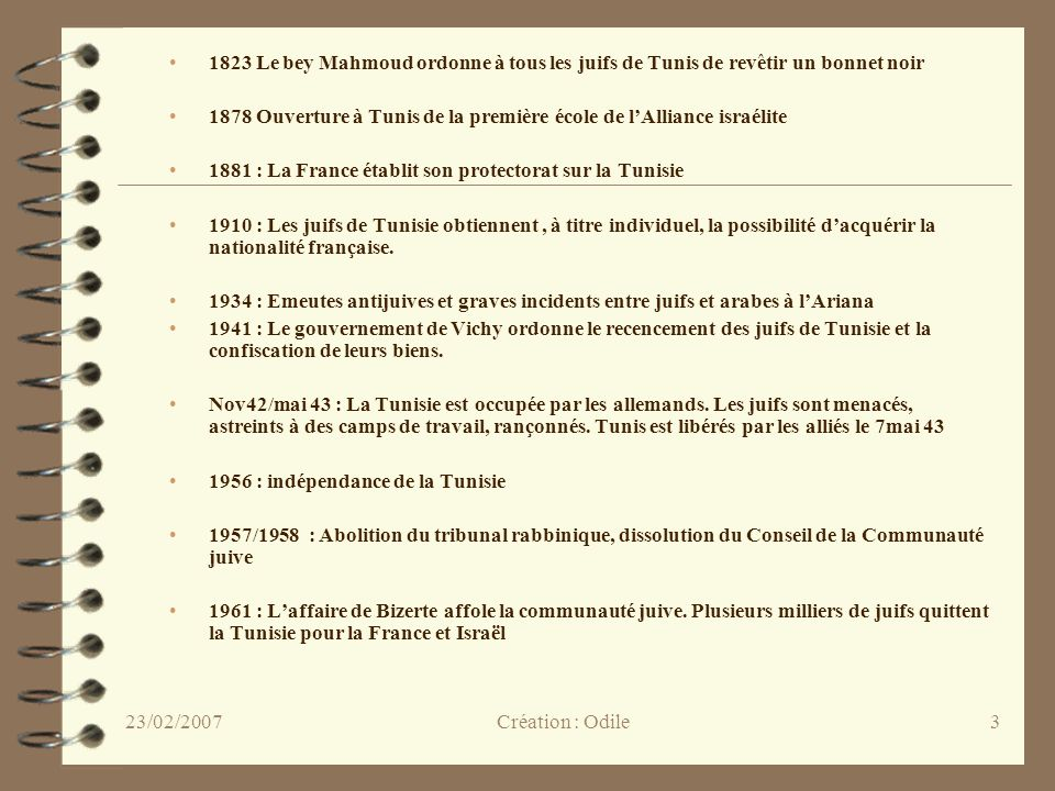 1823 Le bey Mahmoud ordonne à tous les juifs de Tunis de revêtir un bonnet noir