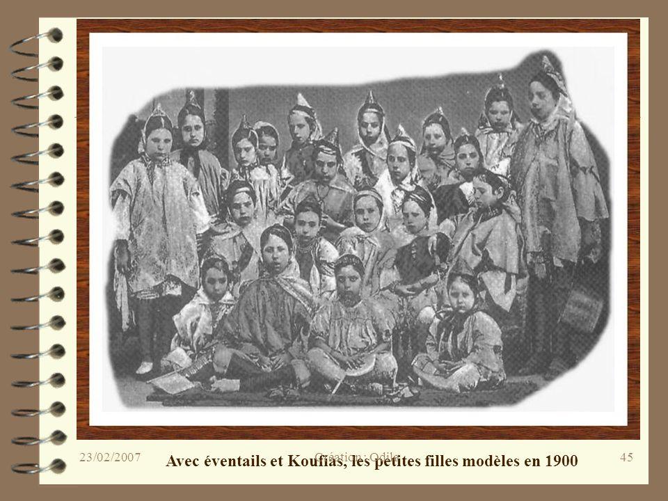 Avec éventails et Koufias, les petites filles modèles en 1900