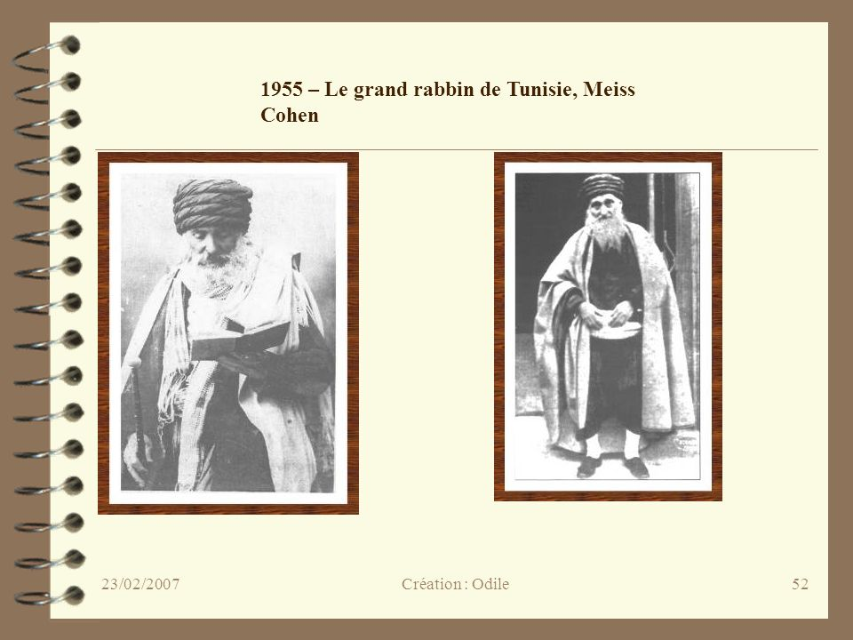 1955 – Le grand rabbin de Tunisie, Meiss Cohen