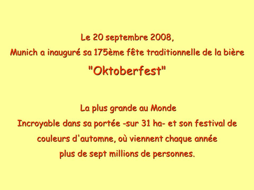 Oktoberfest Le 20 septembre 2008,