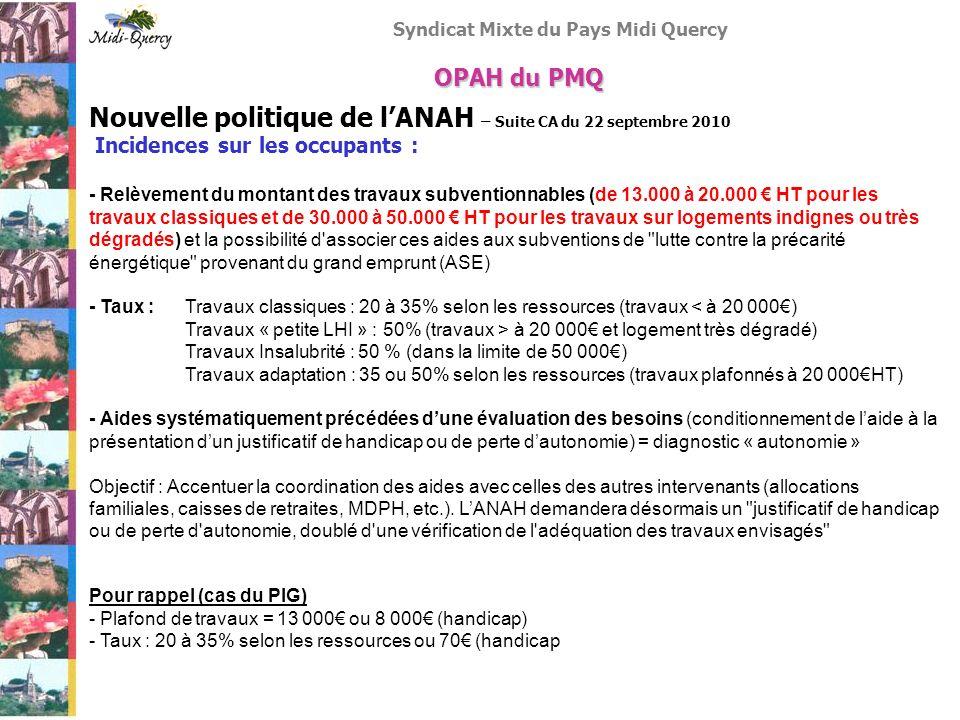 Nouvelle politique de l'ANAH – Suite CA du 22 septembre 2010