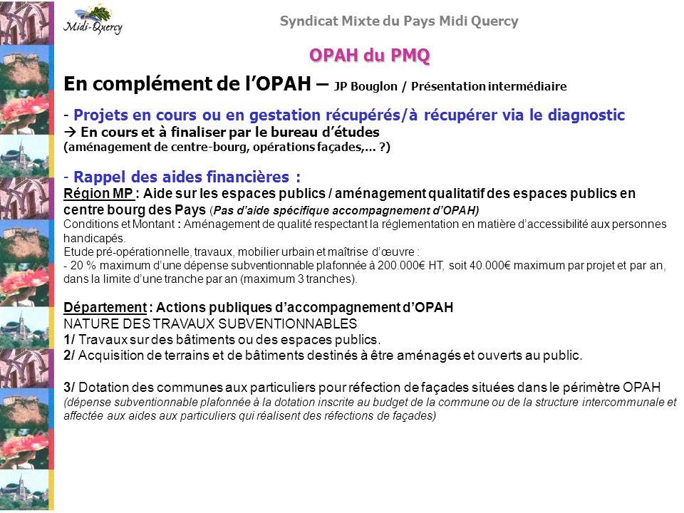 En complément de l'OPAH – JP Bouglon / Présentation intermédiaire