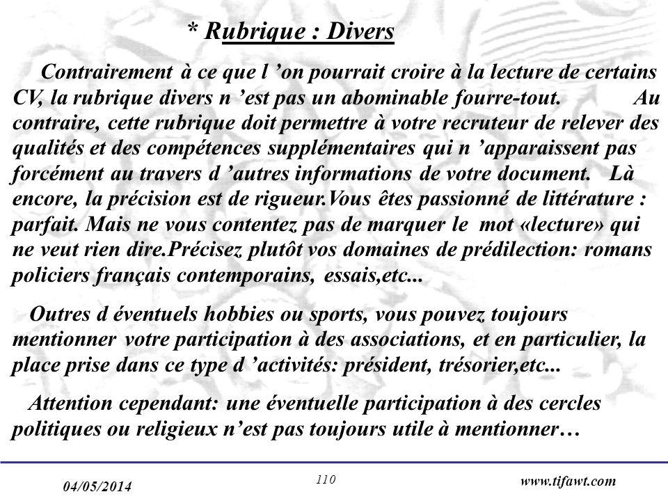 * Rubrique : Divers