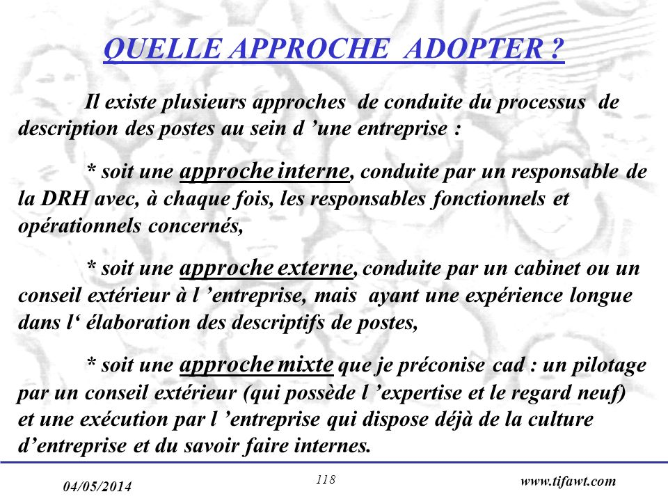 QUELLE APPROCHE ADOPTER
