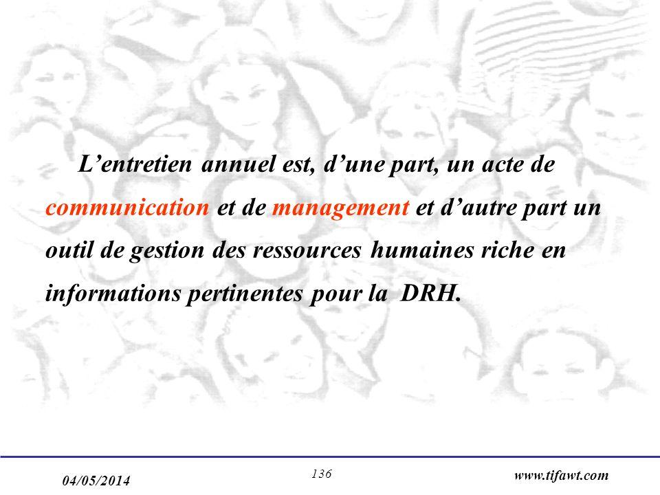 L'entretien annuel est, d'une part, un acte de communication et de management et d'autre part un outil de gestion des ressources humaines riche en informations pertinentes pour la DRH.
