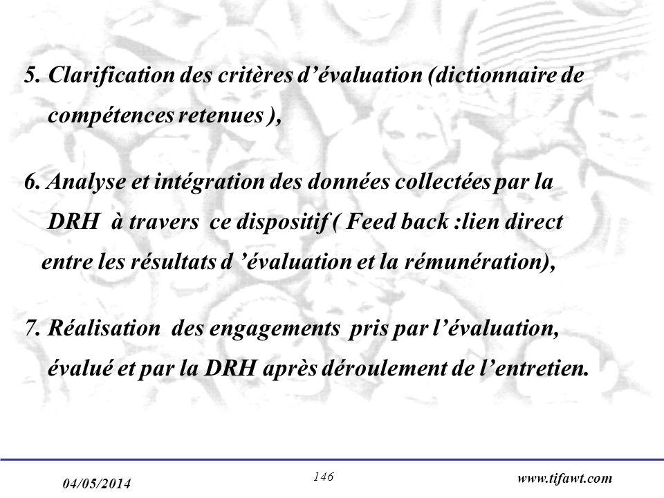 5. Clarification des critères d'évaluation (dictionnaire de compétences retenues ),