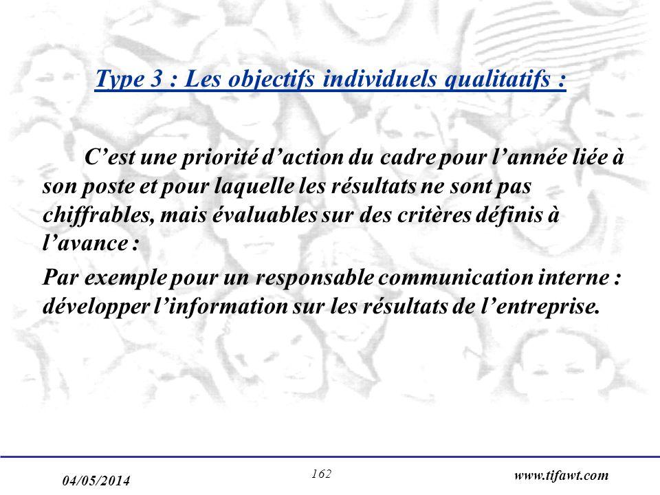Type 3 : Les objectifs individuels qualitatifs :
