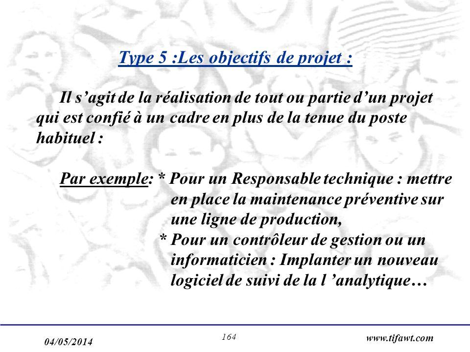 Type 5 :Les objectifs de projet :