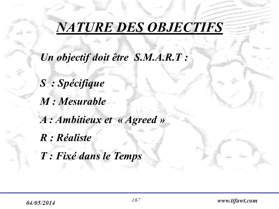 NATURE DES OBJECTIFS Un objectif doit être S.M.A.R.T : M : Mesurable
