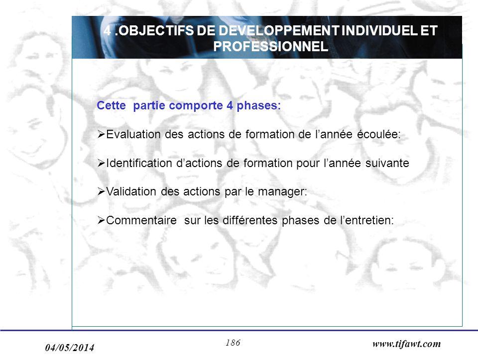 4 .OBJECTIFS DE DEVELOPPEMENT INDIVIDUEL ET PROFESSIONNEL