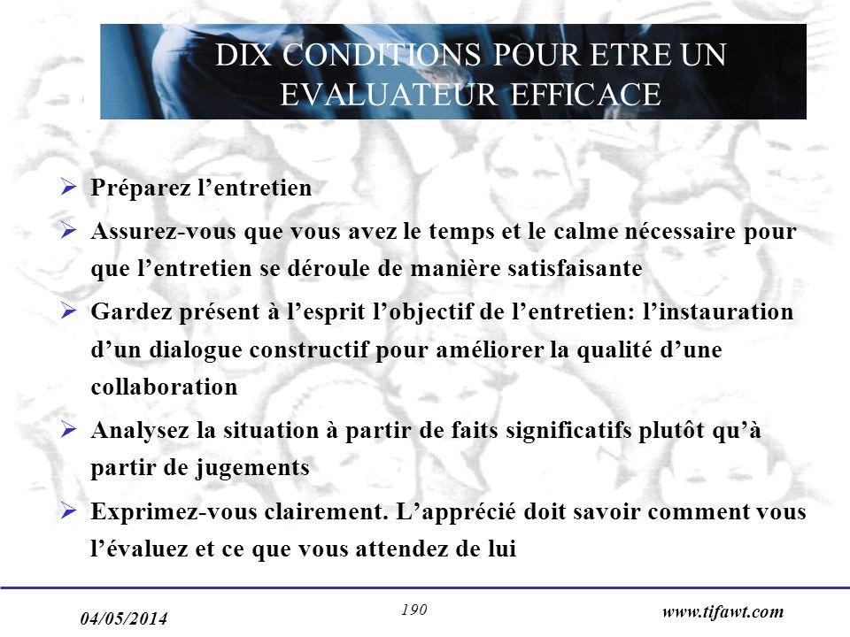 DIX CONDITIONS POUR ETRE UN EVALUATEUR EFFICACE