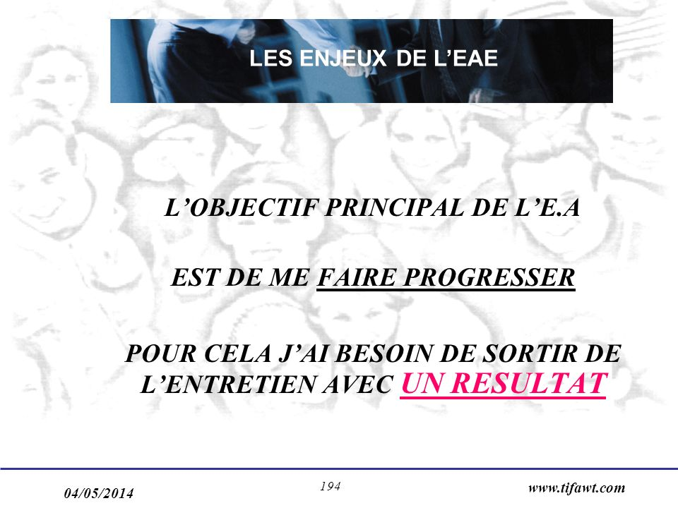 L'OBJECTIF PRINCIPAL DE L'E.A EST DE ME FAIRE PROGRESSER