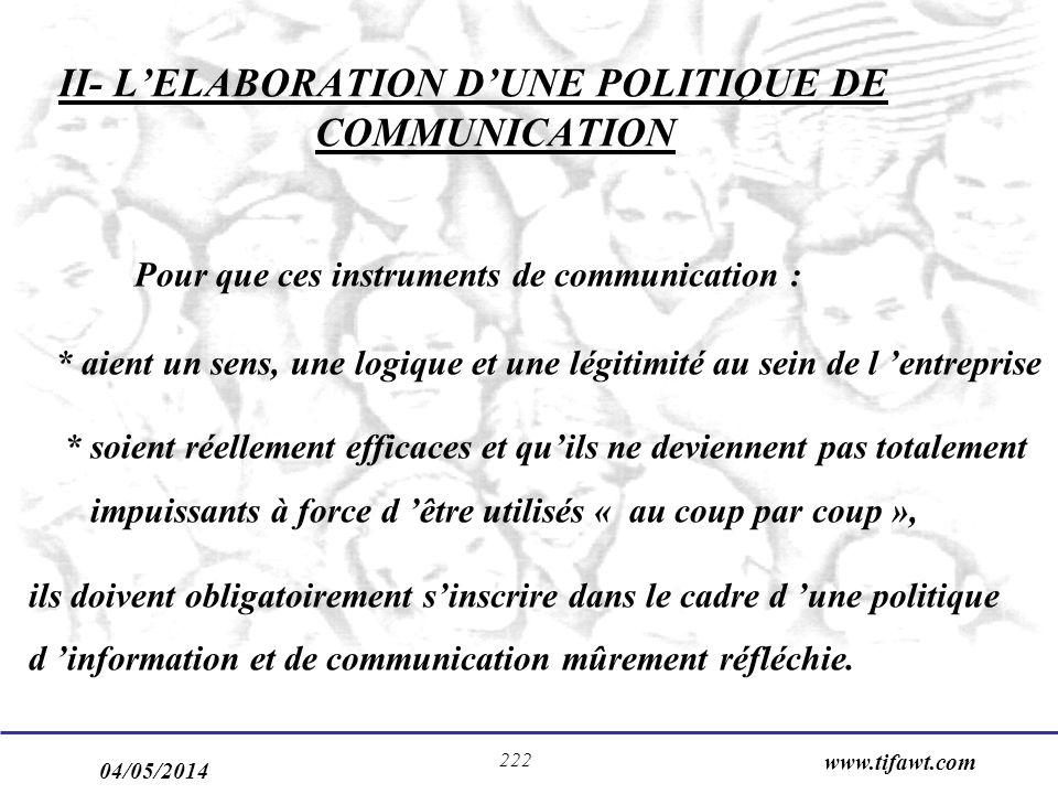 II- L'ELABORATION D'UNE POLITIQUE DE COMMUNICATION