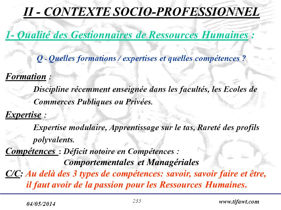 II - CONTEXTE SOCIO-PROFESSIONNEL