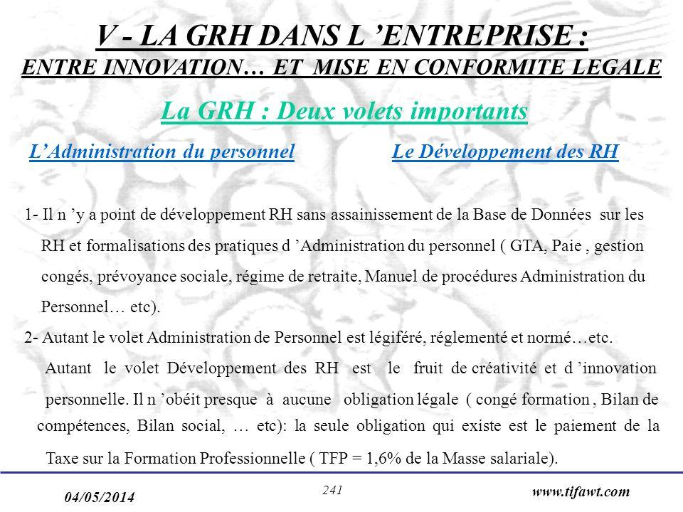V - LA GRH DANS L 'ENTREPRISE : ENTRE INNOVATION… ET MISE EN CONFORMITE LEGALE