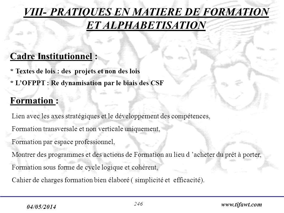VIII- PRATIQUES EN MATIERE DE FORMATION ET ALPHABETISATION