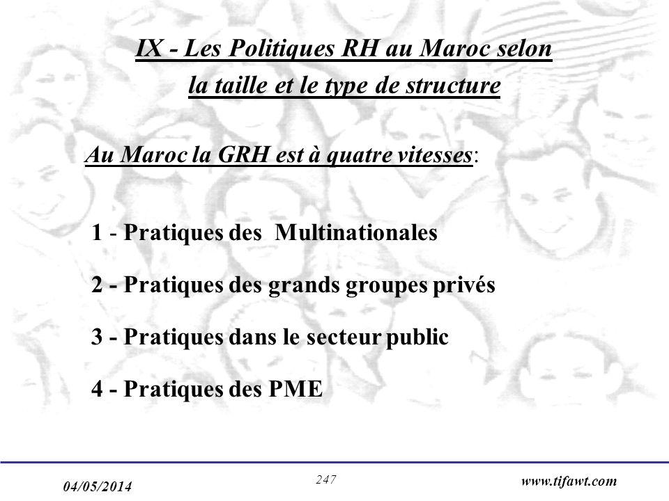 IX - Les Politiques RH au Maroc selon