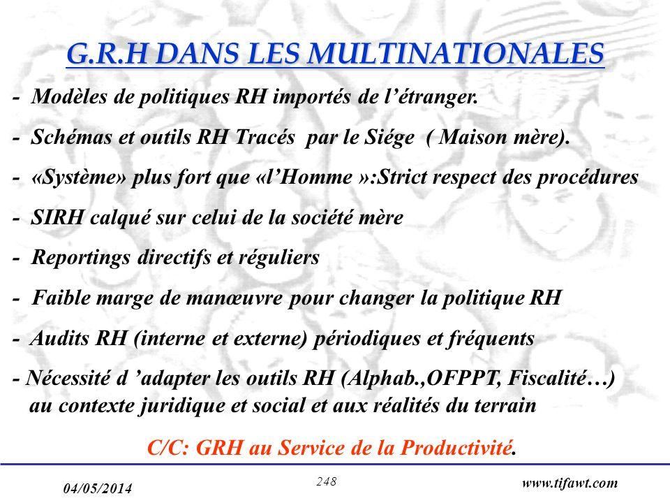 G.R.H DANS LES MULTINATIONALES