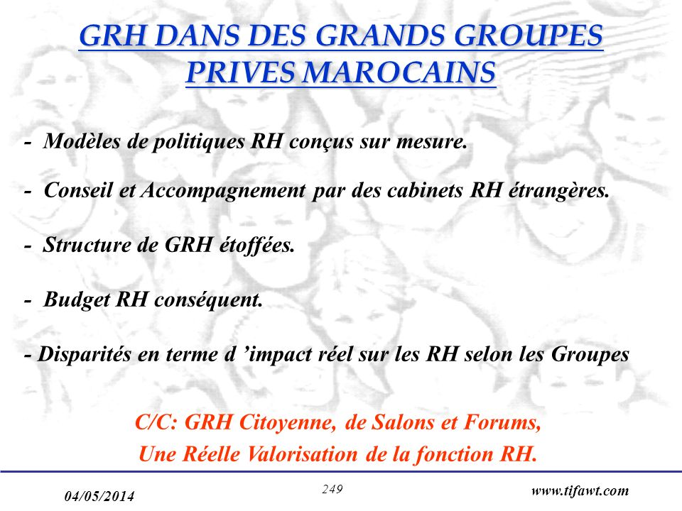 GRH DANS DES GRANDS GROUPES PRIVES MAROCAINS